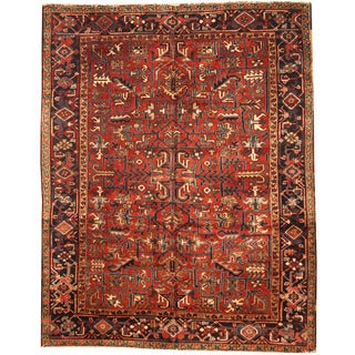 Herat Oriental Persian Hand-knotted 1920s Semi-antique Tribal Heriz Wool Rug (6'5 x 8'2)