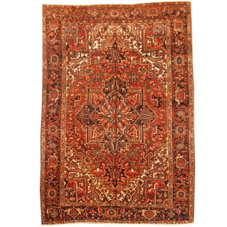 Herat Oriental Persian Hand-knotted 1920s Semi-antique Tribal Heriz Wool Rug (6'7 x 9'4)