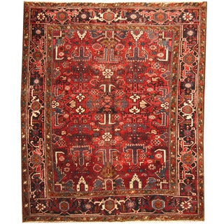 Herat Oriental Persian Hand-knotted 1920s Semi-antique Tribal Heriz Wool Rug (6'5 x 7'9)