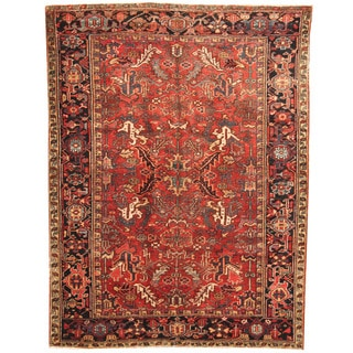 Herat Oriental Persian Hand-knotted 1920s Semi-antique Tribal Heriz Wool Rug (6'4 x 8'4)