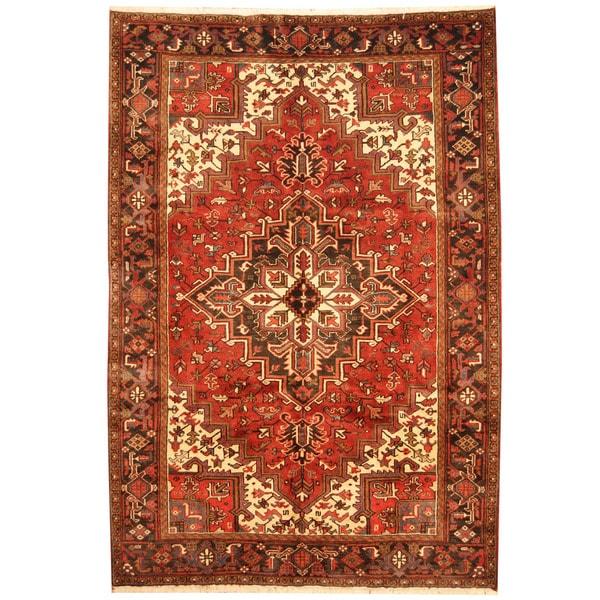 Herat Oriental Persian Hand-knotted 1960s Semi-antique Tribal Heriz Wool Rug (6'9 x 9'9)