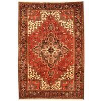 Handmade Herat Oriental Persian 1960s Semi-antique Tribal Heriz Wool Rug  - 6'9 x 9'9 (Iran)