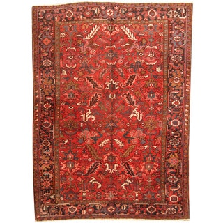 Herat Oriental Persian Hand-knotted 1920s Semi-antique Tribal Heriz Wool Rug (7'3 x 10')
