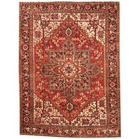 Herat Oriental Persian Hand-knotted 1960s Semi-antique Tribal Heriz Wool Rug (8'8 x 11'6) - 8'8 x 11'6