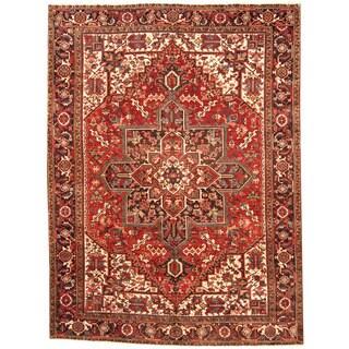 Herat Oriental Persian Hand-knotted 1960s Semi-antique Tribal Heriz Wool Rug (8'8 x 11'6) - 8'8 x 11'6
