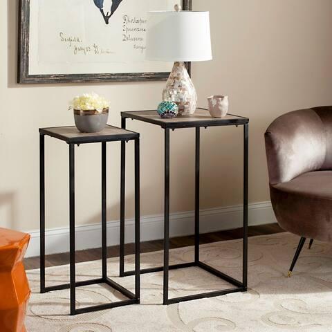 "Safavieh Mid-Century Modern Callia Light Grey / Black End Table - 16.5"" x 16.5"" x 31.5"""