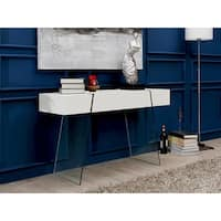 Casabianca Home Il Vetro Cabana Collection High-gloss White Lacquer Console Table