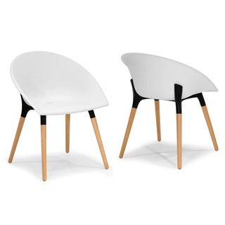 Adia Modern White Plastic Chair with Beech Legs (Set of 2)