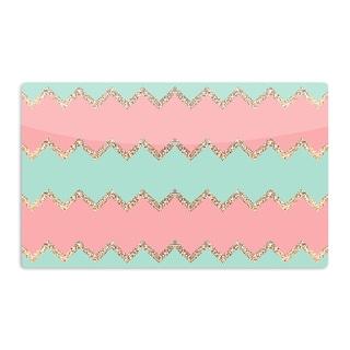 KESS InHouse Monika Strigel 'Avalon Soft Coral and Mint Chevron' Orange Green Artistic Aluminum Magnet