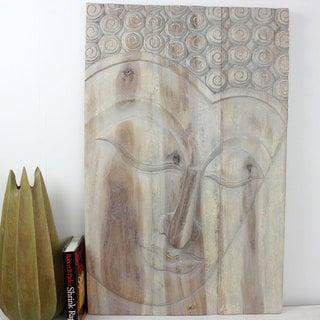 Haussmann Serene Buddha Agate Grey Wooden Panel (Thailand)