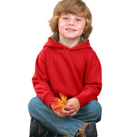 Boy's Red Fleece Pullover Hooded Sweatshirt
