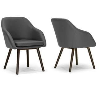 Adaya Grey Faux Leather Arm Chair with Beech Legs (Set of 2)
