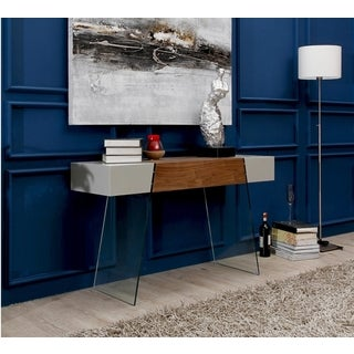 Casabianca Home Il Vetro Cabana Collection Polished Walnut Veneer/Grey Lacquer Console Table