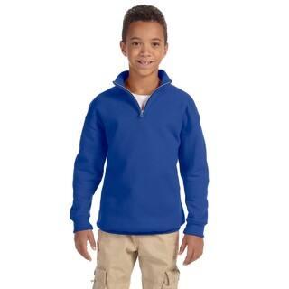 Boys' Royal Blue 50/50 Cotton/Polyester Nublend 8-ounce Quarter-zip Cadet Collar Sweatshirt|https://ak1.ostkcdn.com/images/products/12150971/P19005371.jpg?impolicy=medium