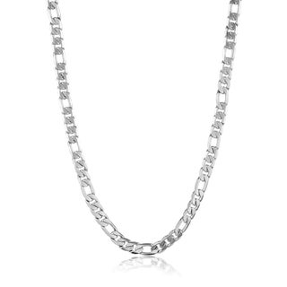 Crucible Men's Stainless Steel Diamond Cut Italian Figaro Chain Necklace - 24 Inches (10mm Wide) (3 options available)