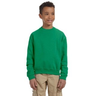 Nublend Boys' Kelly Green Cotton Crew Neck Sweatshirt