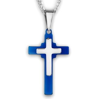 Men's Two-Tone Polished Stainless Steel Double Layered Cross Pendant Necklace on 19 inch Double Rope Chain