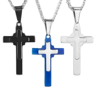 Men's Two-Tone Polished Stainless Steel Double Layered Cross Pendant Necklace on 19 inch Double Rope Chain (3 options available)