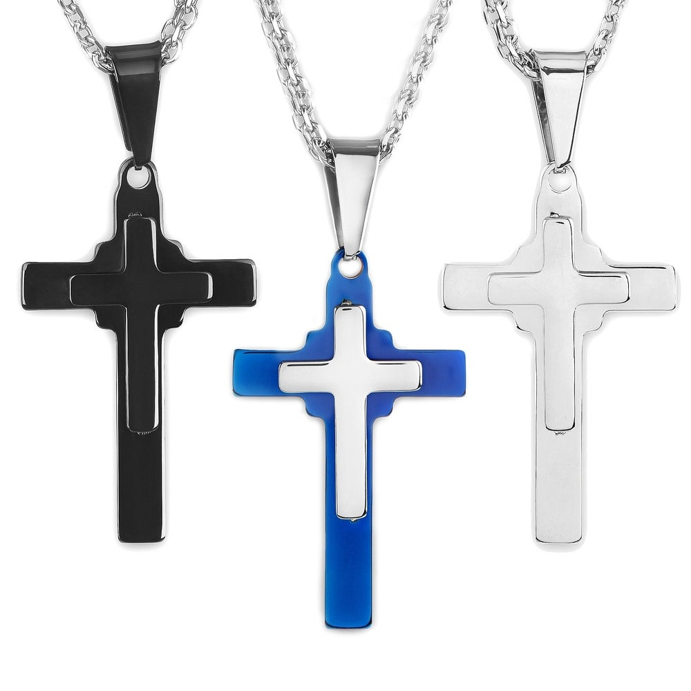 Stainless Steel Polished and Brushed Cut-out Cross Necklace; 20 inch