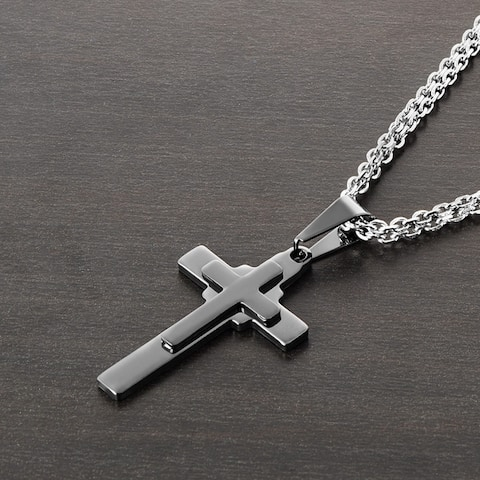 Polished Stainless Steel Double Layered Cross Pendant Necklace - 19 inches