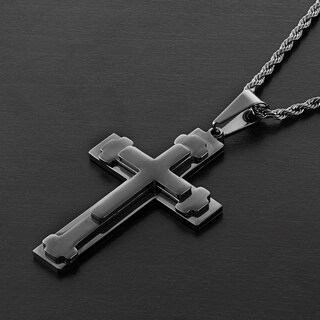 Men's High Polish Stainless Steel Triple Layered Cross Pendant on 24 Inch Rope Chain Necklace (Option: Black)