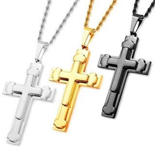 Men's High Polish Stainless Steel Triple Layered Cross Pendant on 24 Inch Rope Chain Necklace
