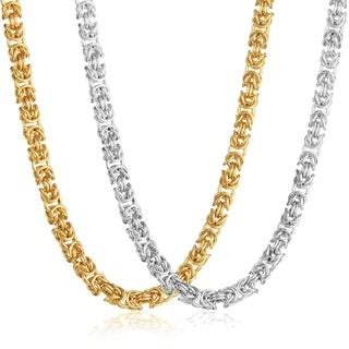 Polished Stainless Steel Byzantine 21-inch Chain Necklace White or Gold