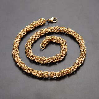 Polished Byzantine Stainless Steel Chain Necklace (Option: Yellow)