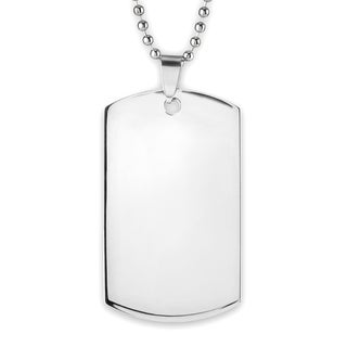 Men's High Polish Mirror Finish Stainless Steel Engravable Dog Tag Pendant on 24 Inch Ball Chain Necklace