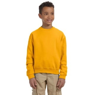 Nublend Boy's Gold Cotton Crew Neck Sweatshirt