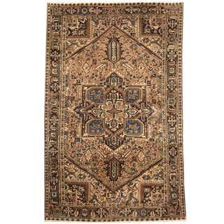 Herat Oriental Persian Hand-knotted 1940s Semi-antique Tribal Heriz Wool Rug (7'3 x 11'5)