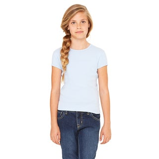 Girls' Baby Blue Cotton Stretch Rib Short-sleeve T-shirt