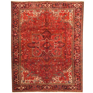 Herat Oriental Persian Hand-knotted 1960s Semi-antique Tribal Heriz Wool Rug (8'10 x 11')