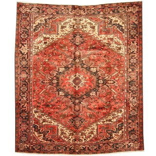 Herat Oriental Persian Hand-knotted 1960s Semi-antique Tribal Heriz Wool Rug (9' x 10'5)