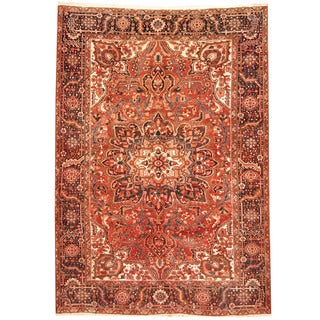 Herat Oriental Persian Hand-knotted 1970s Semi-antique Tribal Heriz Wool Rug (8' x 11'6)