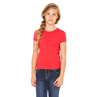 Girls' Red Stretch Cotton Ribbed Short-sleeve T-shirt