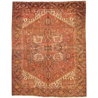 Herat Oriental Persian Hand-knotted 1960s Semi-antique Tribal Heriz Wool Rug (9'4 x 11'9)