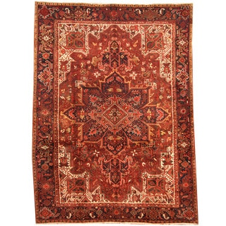 Herat Oriental Persian Hand-knotted 1960s Semi-antique Tribal Heriz Wool Rug (8'3 x 11')