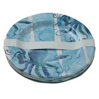 TAG Octopus Melamine Dinner Plates Ocean Blue