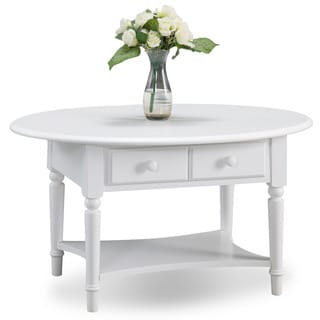 Coastal Oval Coffee Table with Shelf
