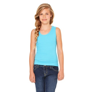 Girl's Turquoise Cotton Stretch Rib Tank