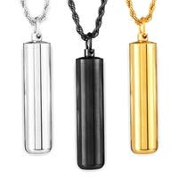 Crucible Men's High Polish Stainless Steel Capsule Pendant on 24 Inch Rope Chain Necklace