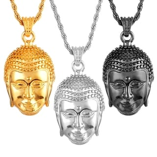 Crucible Men's Polished Stainless Steel Buddha Pendant on 24 Inch Rope Chain Necklace
