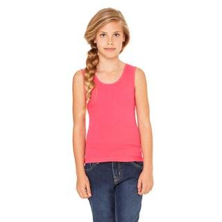 Girls' Fuscia Cotton Stretch Rib Tank