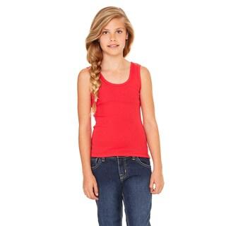 Girls' Red Cotton Stretch Rib Tank