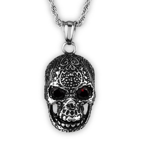 Crucible Men's Stainless Steel Red Crystal Eyes Skull Pendant on 24 Inch Rope Chain Necklace