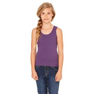 Girls' Purple Cotton Stretch Rib Tank