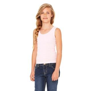 Girls' Pink Cotton Stretch Rib Tank