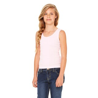 Girls' Pink Cotton Stretch Rib Tank
