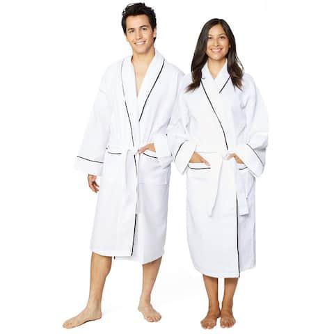 Cotton Unisex Waffle Weave Bath Robe with Stylish Piping